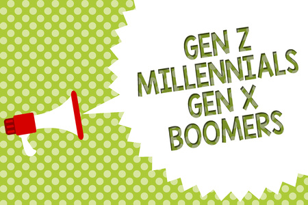 Word writing text Gen Z Millennials Gen X Boomers. Business concept for Generational differences Old Young people Megaphone loudspeaker speech bubble message green background halftone