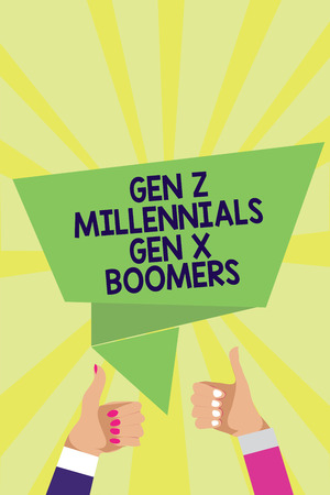 Handwriting text Gen Z Millennials Gen X Boomers. Concept meaning Generational differences Old Young people Man woman hands thumbs up approval speech bubble origami rays background Foto de archivo
