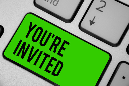 Writing note showing You re are Invited. Business photo showcasing Please join us in our celebration Welcome Be a guest Keyboard green key Intention computer computing reflection document