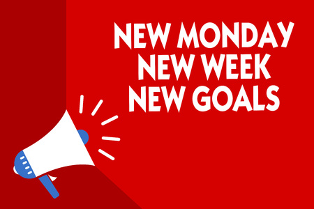 Conceptual hand writing showing New Monday New Week New Goals. Business photo showcasing Be positive every start of the week Megaphone red background important message speaking loud Stock fotó