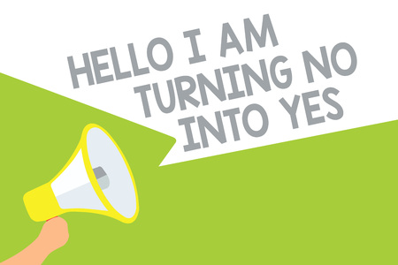 Text sign showing Hello I Am Turning No Into Yes. Conceptual photo Persuasive Changing negative into positive Megaphone loudspeaker speech bubbles important message speaking out loud