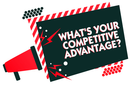 Handwriting text writing What s is Your Competitive Advantage question. Concept meaning Marketing strategy Plan Megaphone loudspeaker red striped frame important message speaking loud Archivio Fotografico