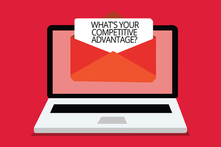 Writing note showing What s is Your Competitive Advantage question. Business photo showcasing Marketing strategy Plan Computer receiving email important message envelope with paper virtual