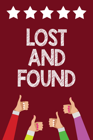 Conceptual hand writing showing Lost And Found. Business photo text Place where you can find forgotten things Search service Men women hands thumbs up approval five stars purple background Banque d'images