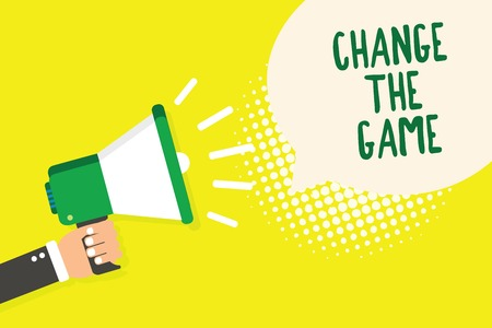 Word writing text Change The Game. Business concept for Make a movement do something different new strategies Man holding megaphone loudspeaker speech bubble yellow background halftone