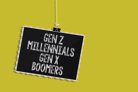 Handwriting text Gen Z Millennials Gen X Boomers. Concept meaning Generational differences Old Young people Hanging blackboard message communication information sign yellow background