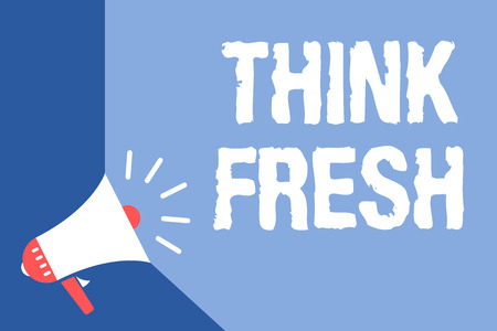 Writing note showing Think Fresh. Business photo showcasing Thinking on natural ingredients Positive good environment Megaphone loudspeaker blue background important message speaking loud Archivio Fotografico