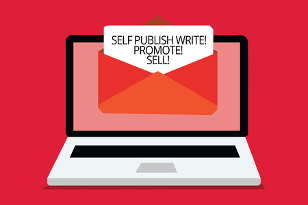 Writing note showing Self Publish Write Promote Sell. Business photo showcasing Auto promotion writing Marketing Publicity Computer receiving email important message envelope with paper virtual
