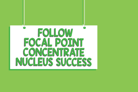 Handwriting text Follow Focal Point Concentrate Nucleus Success. Concept meaning Concentration look for target Hanging board message communication open close sign green background