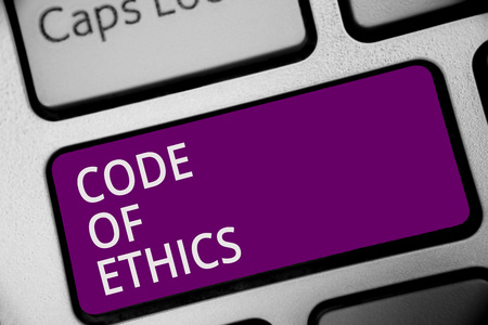 Word writing text Code Of Ethics. Business concept for Moral Rules Ethical Integrity Honesty Good procedure Keyboard purple key Intention create computer computing reflection document Banco de Imagens