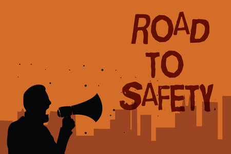 Writing note showing Road To Safety. Business photo showcasing Secure travel protect yourself and others Warning Caution Man holding megaphone speaking politician promises orange background 写真素材
