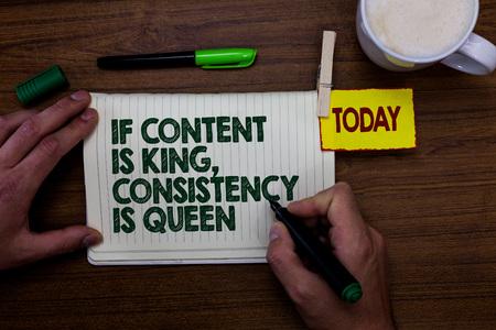 Escritura de texto Word si el contenido es el rey, la coherencia es la reina. Foto de archivo
