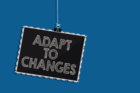 Writing note showing Adapt To Changes. Business photo showcasing Embrace new opportunities Growth Adaptation progress Hanging blackboard message communication information blue background