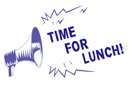 Word writing text Time For Lunch. Business concept for Moment to have a meal Break from work Relax eat drink rest Purple megaphone loudspeaker important message screaming speaking loud