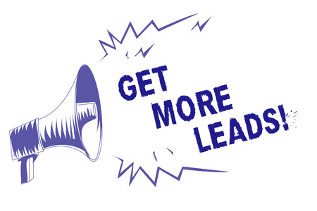 Word writing text Get More Leads. Business concept for Look for new clients customers followers Marketing strategy Purple megaphone loudspeaker important message screaming speaking loud