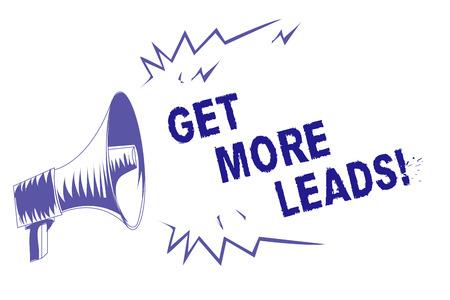 Wortschreiben Text Holen Sie sich mehr Leads. Geschäftskonzept für Suchen Sie nach neuen Kunden Kunden Follower Marketingstrategie Lila Megaphon Lautsprecher wichtige Nachricht schreien laut sprechen Standard-Bild