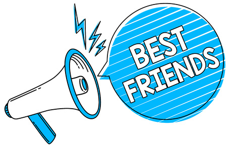 Word writing text Best Friends. Business concept for A person you value above other persons Forever buddies Megaphone loudspeaker blue speech bubble stripes important loud message Stock Photo