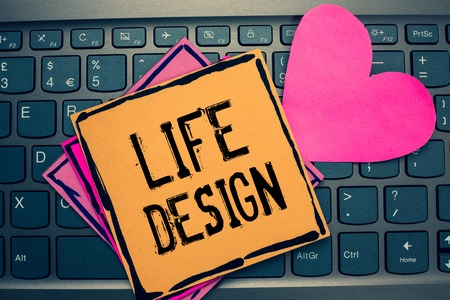 Writing note showing Life Design. Business photo showcasing balance how you live between work family and entertaining Papers Romantic lovely message Heart Keyboard computer Good feelings Reklamní fotografie