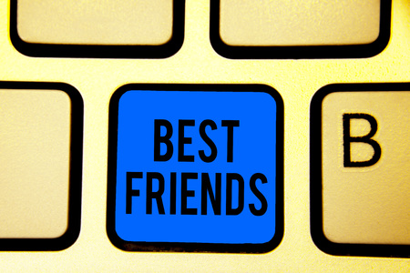 Conceptual hand writing showing Best Friends. Business photo text A person you value above other persons Forever buddies Keyboard blue key Intention computer computing reflection document
