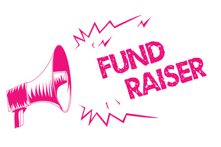 Conceptual hand writing showing Fund Raiser. Business photo text person whose job or task is seek financial support for charity Pink megaphone loudspeaker important message screaming speaking Banque d'images