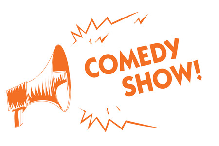 Text sign showing Comedy Show. Conceptual photo Funny program Humorous Amusing medium of Entertainment Orange megaphone loudspeaker important message screaming speaking loud