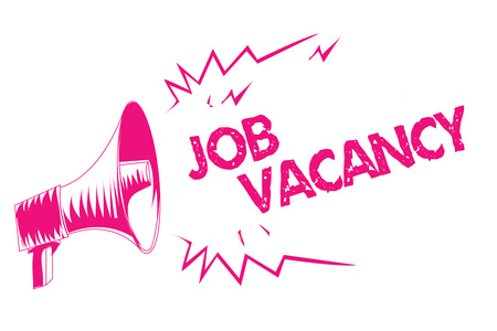 Conceptual hand writing showing Job Vacancy. Business photo text empty or available paid place in small or big company Pink megaphone loudspeaker important message screaming speaking