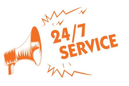 Textschild mit 24 7 Service. Konzeptfoto Immer verfügbar, um zu dienen Läuft ständig ohne Unterbrechung Orange Megaphonlautsprecher wichtige Nachricht schreiend laut sprechend