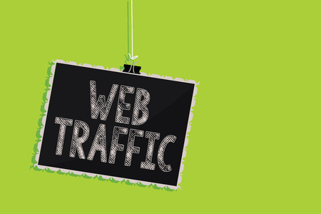 Conceptual hand writing showing Web Traffic. Business photo text Amount of data sent and received by visitors to a website Hanging blackboard message communication sign green background