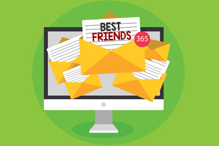 Conceptual hand writing showing Best Friends. Business photo showcasing A person you value above other persons Forever buddies Computer receiving emails messages envelopes papers virtual