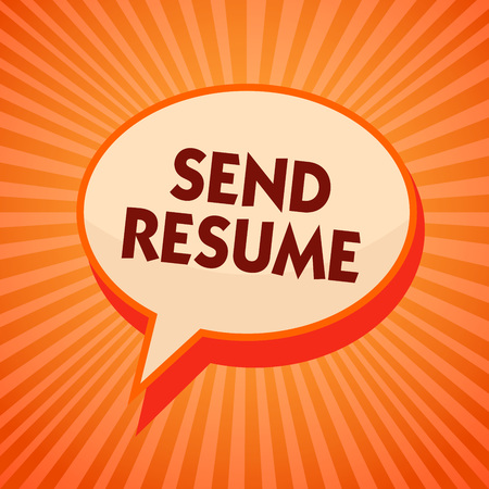 Word writing text Send Resume. Business concept for brief account persons education qualifications and occupations Orange speech bubble message reminder rays shadow important intention Standard-Bild - 106693576
