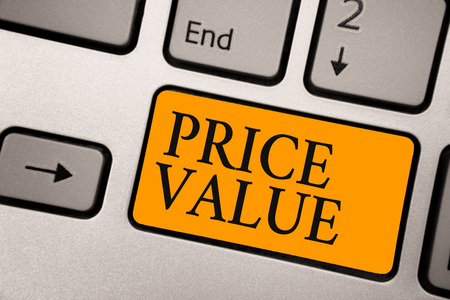 Handwriting text Price Value. Concept meaning strategy which sets cost primarily but not exclusively Keyboard orange key Intention create computer computing reflection document Stock fotó