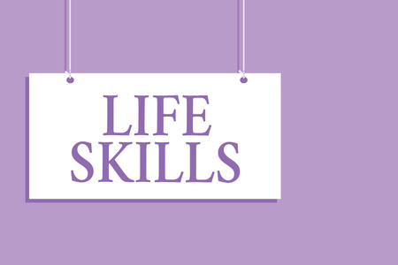 Writing note showing Life Skills. Business photo showcasing that is necessary or desirable full participation in everyday Hanging board message communication open close sign purple background