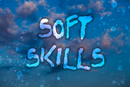 Word writing text Soft Skills. Business concept for personal attribute enable interact effectively with other people Cloudy bright blue sky sunset landscape relaxing time inspirational view