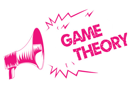 Conceptual hand writing showing Game Theory. Business photo text branch of mathematics concerned with analysis of strategies Pink megaphone loudspeaker important message screaming speaking