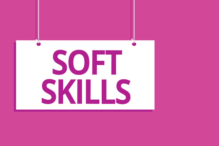 Text sign showing Soft Skills. Conceptual photo personal attribute enable interact effectively with other people Hanging board message communication open close sign purple background