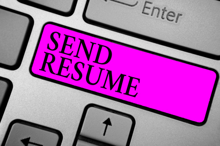 Conceptual hand writing showing Send Resume. Business photo text brief account persons education qualifications and occupations Keyboard purple key computer computing reflection document