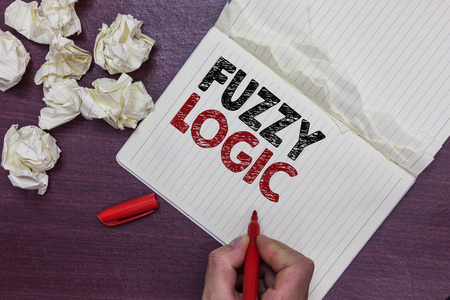 Handwriting text Fuzzy Logic. Concept meaning checks for extent of dirt and grease amount of soap and water Man holding marker notebook page crumpled papers several tries mistakes
