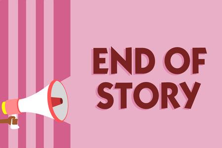 単語の書き込みテキスト ストーリーの終わり。ジャーナリズムメガホン拡声器ピンクのストライプを書く文学を追加するものは何も強調するためのビジネスコンセプトは、大声で発言する重要なメッセージ 写真素材 - 106758447