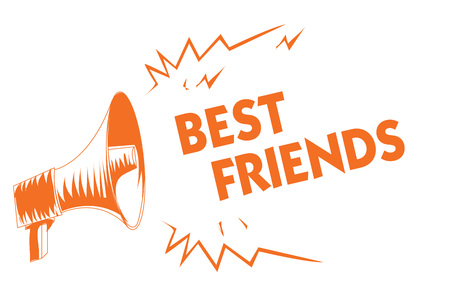 Text sign showing Best Friends. Conceptual photo A person you value above other persons Forever buddies Orange megaphone loudspeaker important message screaming speaking loud Stock Photo