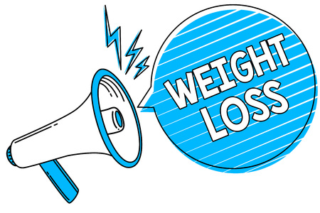 Word writing text Weight Loss. Business concept for Decrease in Body Fluid Muscle Mass Reduce Fat Dispose Tissue Megaphone loudspeaker blue speech bubble stripes important loud message Stock Photo