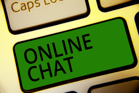 Handwriting text writing Online Chat. Concept meaning talking with friend or someone through internet and PC phone Keyboard green key Intention create computer computing reflection document