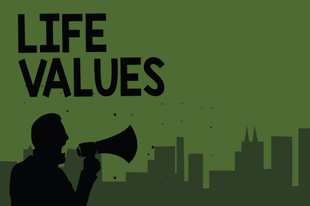 Conceptual hand writing showing Life Values. Business photo showcasing things that you believe are important in the way you live Man holding megaphone speaking politician green background