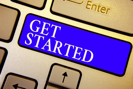 Text sign showing Get Started. Conceptual photo asking someone to begin task endeavour or process right now Keyboard blue key Intention create computer computing reflection document 版權商用圖片