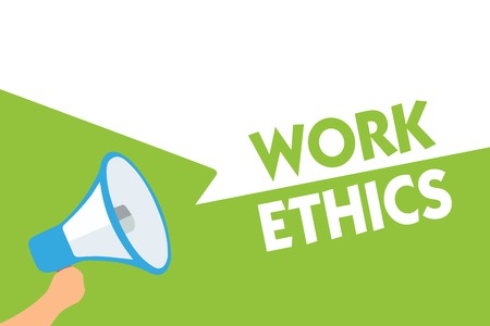 Word writing text Work Ethics. Business concept for A set of values centered on the importance of doing work Megaphone loudspeaker speech bubbles important message speaking out loud Stock Photo