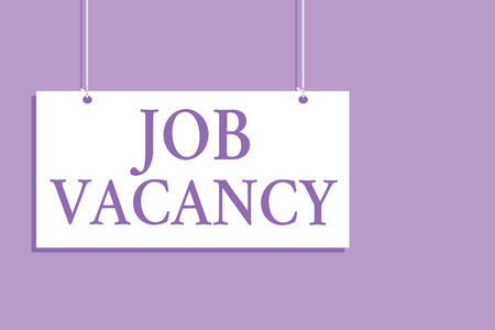 Writing note showing Job Vacancy. Business photo showcasing empty or available paid place in small or big company Hanging board message communication open close sign purple background Archivio Fotografico