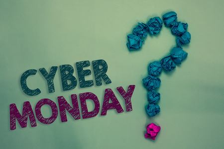 Text sign showing Cyber Monday. Conceptual photo Marketing term for Monday after thanksgiving holiday in the US Crumpled papers forming question mark several tries unanswered doubt Foto de archivo