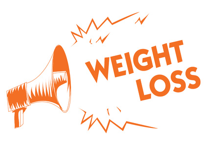 Text sign showing Weight Loss. Conceptual photo Decrease in Body Fluid Muscle Mass Reduce Fat Dispose Tissue Orange megaphone loudspeaker important message screaming speaking loud Stock Photo
