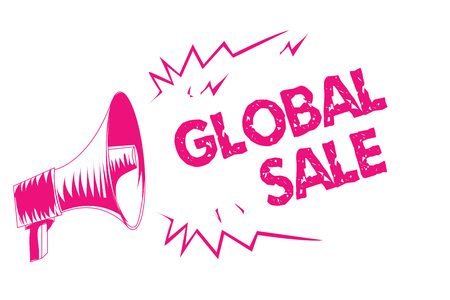 Conceptual hand writing showing Global Sale. Business photo text managers operations for companies do business internationally Pink megaphone loudspeaker important message screaming speaking