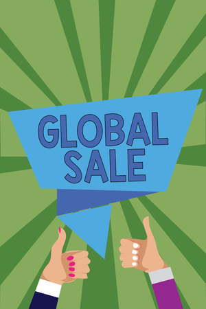 Conceptual hand writing showing Global Sale. Business photo showcasing managers operations for companies do business internationally Man woman hands thumbs up speech bubble rays background Reklamní fotografie