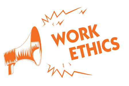 Text sign showing Work Ethics. Conceptual photo A set of values centered on the importance of doing work Orange megaphone loudspeaker important message screaming speaking loud